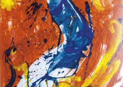 Karl J. Schaefer - Abgetrenntes, 1997 (Acryl. Mischtechnik, Sand auf Karton)