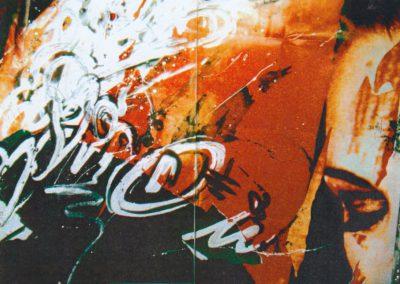 Karl J. Schaefer - Assoziation Rot,1996, Diptychon (Malerei, Fototeile gerastert auf Papier)