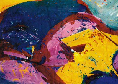 Karl J. Schaefer - Ruhend, 1998 (Acryl, Dispersion, Collageteile auf Karton)