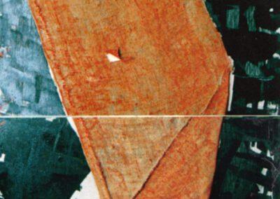 Karl J. Schaefer - Sigma, 1998 Diptychon (Ölfarbe, Lack, Jute auf Holztafeln)