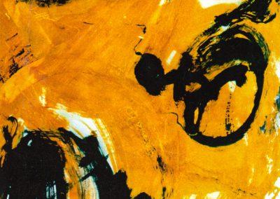 Karl J. Schaefer - Triple 1998 (Tusche, Acryl, Sand auf Karton)